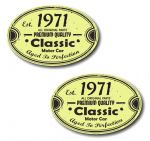 PAIR Distressed Aged Established 1971 Aged To Perfection Oval Design Vinyl Car Sticker 70x45mm Each